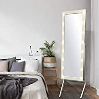 eHomeProducts White Finish LED Lights Wooden Cheval Bedroom Floor Mirror Stand Hollywood Style Makeup Mirror