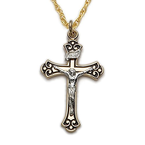 14K Gold Filled and Enameled Cross Crucifix with Budded Ends, 1 Inch