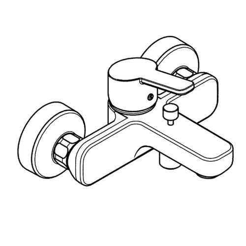 Kludi Wannen-Einhebelmischer Logo Neo mit Umstellung Wanne Brause 376810575 verchromt geschlossenem Hebel