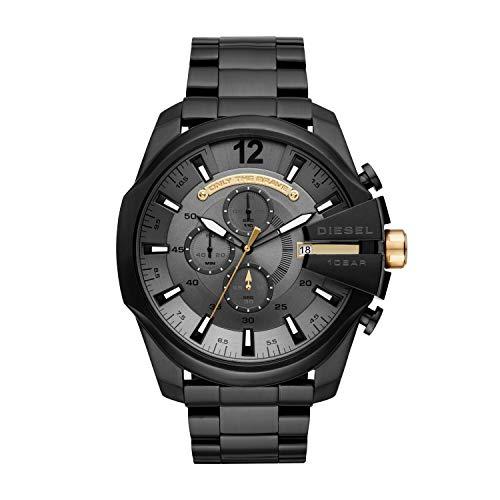 Diesel Men's Mega Chief Quartz Watch with Stainless-Steel Strap, Black, 12 (Model: DZ4479) (Diesel Mens Strap)