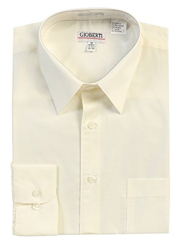 Gioberti Men's Long Sleeve Solid Dress Shirt, Ivory, Medium, Sleeve - Mens Shirt Ivory