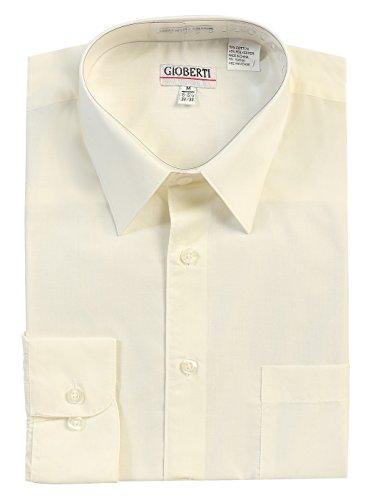 Gioberti Men's Long Sleeve Solid Dress Shirt, Ivory, Medium, Sleeve ()