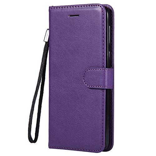 Moto G6 Plus Case, AIIYG DS Classic Pure Color [Kickstand Feature] Flip Folio Leather Wallet Case with ID and Credit Card Pockets for Moto G6 Plus Purple by AIIYG DS (Image #5)