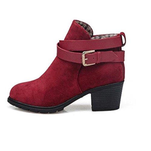 Kolylong Women Ladies Winter Snow Boots Low Heel Ankle Belt Buckle Martin Boots Red