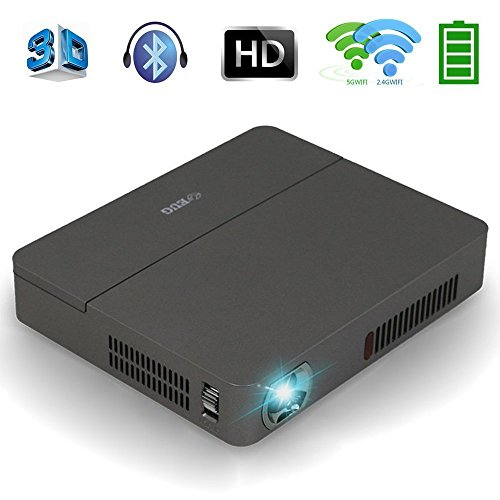 Mini DLP Projector Wireless 3D - Bluetooth 4.0 Dual WiFi 4K Airplay Miracast Built-in Battery Multimedia, for Home Cinema Theater Business Education Office School PPT Presentation Outdoor Camping by EUG