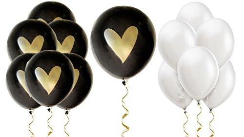 (Black Gold White Heart Balloons Love 12