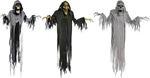Halloween Hanging Props Animated Witch Phantom Reaper 6 FT Lifesize Decorations -