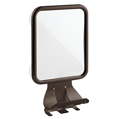 ction Bathroom or Shower Shaving Mirror with Shaving Cream and Razor Holder  - Bronze (Burnt Pecan)
