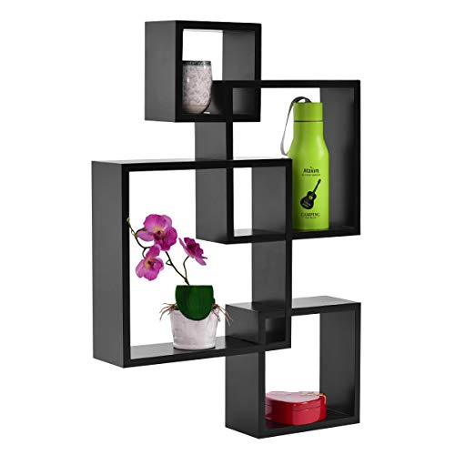 Cheap  Giantex 4 Cube Intersecting Floating Shelves Square Wall Mounted Shelves Wood Home..