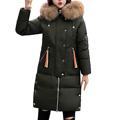 Pour Avec Long Amuster Capuche Costume Rembourrée Coton Veste Gilet Femmes Col Matelassée Chaud D'hiver En À Vert De Moyen Fourrure Femme U6UOqx7