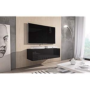 e-Com Rocco Meuble TV, Bas, 100cm, Noir