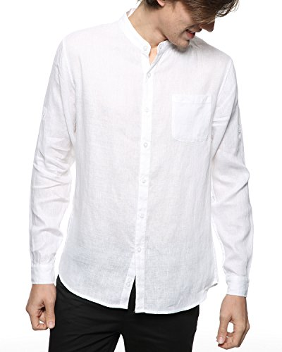 BYLUNTA Men's 100% Linen Long Sleeve Band Collar Casual Beach Shirt Regular Fit (X-Large,White) Long Sleeve Band Shirts