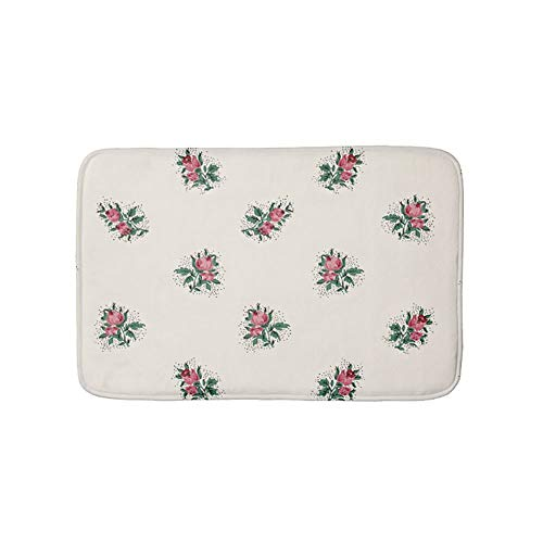 Places Springs Coral (Pretty Pink Roses Girly Vintage Wallpaper Pattern Non-Slip Bathroom Mat Doormat Coral Fleece Kitchen Floor Rug Front Door Mat Funny Flannel Carpet 23.6