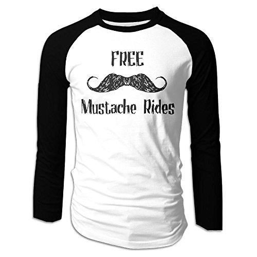 Men's Free Mustache Rides Tri-Blend Long Baseball T Shirt Raglan Size L Color (Food Network Halloween Cake)