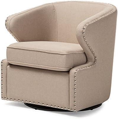 Baxton Studio Finley Mid Century Modern Fabric Upholstered Swivel Armchair, Beige