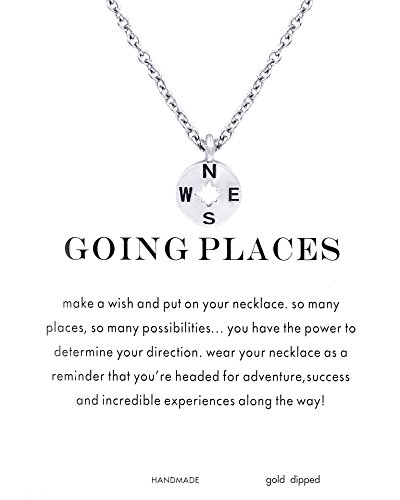Silver Plated Card (CYBERNY Going Places Compass Charm Necklace with Gift Card Silver-plated)
