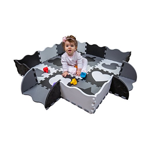 Wee Giggles Non-Toxic, Extra Thick Foam Floor Play Mat for Tummy Time and Crawling, 48' x 48' (Black/White/Gray)