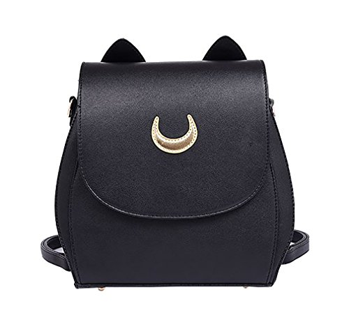 JHVYF Moon Luna Backpack Cute Kitty Cat Shoulder Bag PU Leather Backpack School Bag Black