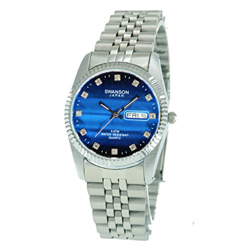 Swanson Japan Men's Silver Day-Date Smooth Blue Vignette Stones Dial Watch with Travel Case
