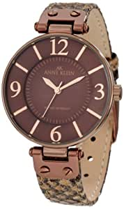 Anne Klein Women's 10/9169BNTP Brown Ion-Plated Taupe Snake Print Strap Watch
