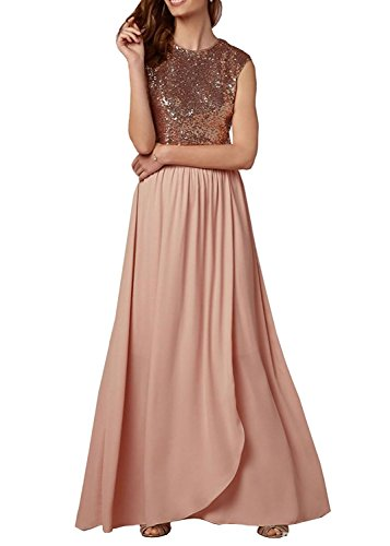 Dannifore Jewel Rose Gold Prom Dresses Long Bridesmaid Evening Gowns Sleeveless Style G,Size (Jewel Sleeveless Satin)
