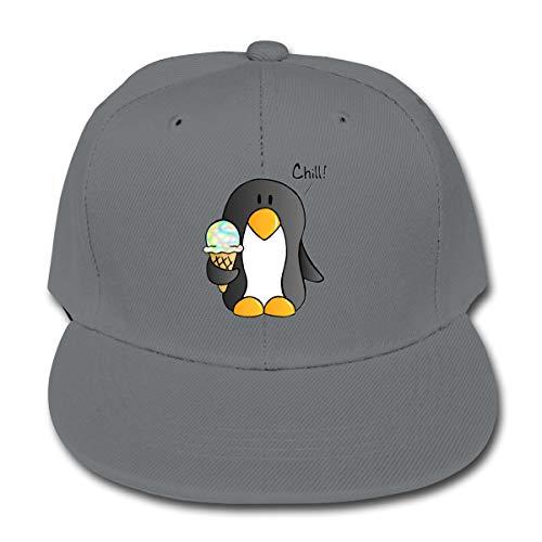TYTland Chill Penguin Hold Ice Cream Kid's Flat Brim Baseball Hats Children Adjustable Dad Caps