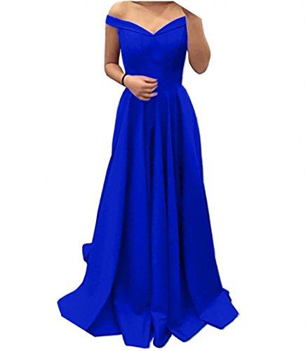 Abendkleider Abschlussballkleider Charmant Einfach Royal V Blau Lang Linie Partykleider Promkleider Ausschnitt Rock A Rot Damen g4fqqnwYX