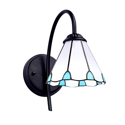 E26 Tiffany Style Wall Lighting lamp, Stained Glass Single Head Wall Sconce Wall Mount Bathroom Vanity Lighting Fixture H:25cm(9.8in) 7W-White Light B (Wall Lights Stained Outdoor Glass)