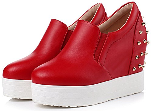 Low Platform Red Top IDIFU Shoes Womens On Studded Slip Wedge Elastic Stylish Sneakers Y6x1nxf7