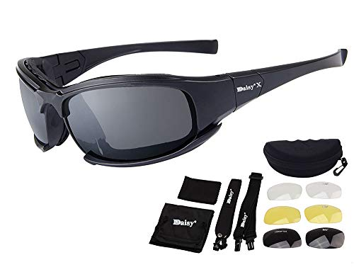 Motorcycle Sunglasses Polarized,Foam Padded Cycling Glass Goggles Strap 4 Lens Kit For Bicycle Motocross Shooting Climbing