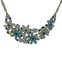 GTNINE Blue Flower Blossoming Pendant Necklace Chain for Girl Women Dainty Minimalist Fashion Jewelry as Anniversary Birthday Valentine