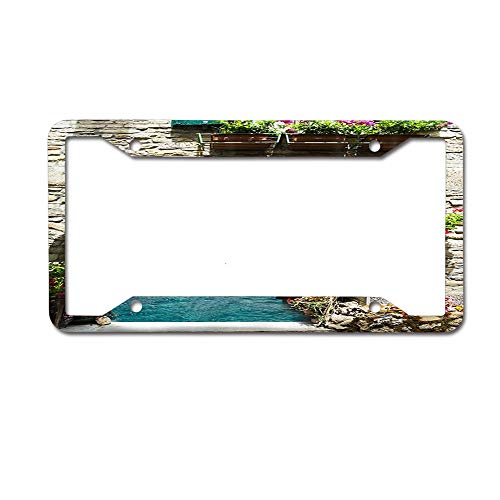 (keyishangmaoLu Vintage Archway Flower Decor Reefs License Plate Frame Aluminum License Plate Frame Car Tag Cover 4 Holes and Screws)