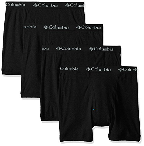 Columbia Men's 3 +1 Bonus Pack Cotton Boxer Brief, Black/Black, - Antimicrobial Briefs