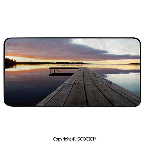 """Soft Long Rug Rectangular Area mat for Bedroom Baby Room Decor Round Playhouse Carpet,Art,View of Sunset Over an Old Oak Deck Pier and Calm Water of The,39""""x20"""""""