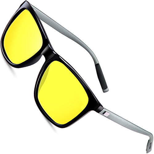 wearPro Wayfarer Sunglasses for Men Polarized Vintage Men`s Sun Glasses WP1003 Yellow/Night Vision