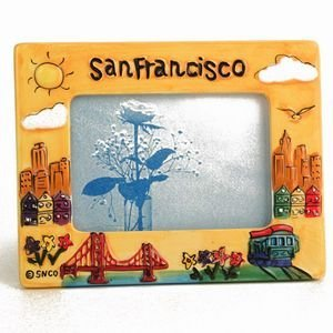 Hand Painted Frame - (41 7/18) CM San Francisco Picture Frame Hand Painted Yellow Puff Frame 3 x 5 opening 7.5 x 5.5 Overall With Copyrighted CA Bear Magnet
