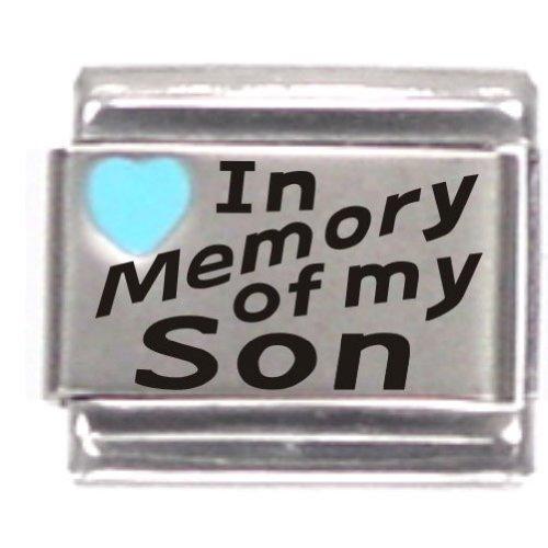 In Memory Of My Son Light Blue Heart Laser Italian Charm
