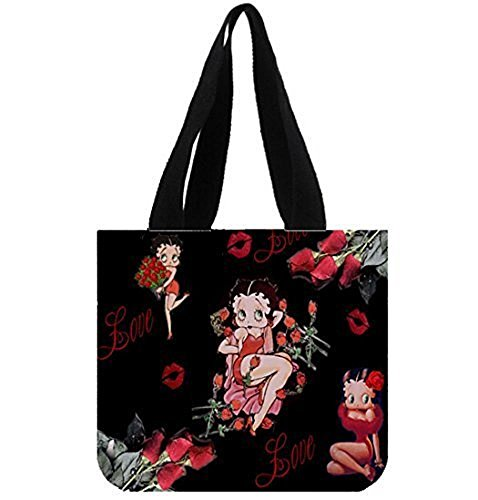 Betty Boop Canvas Printed - Emana Betty Boop Cotton Canvas Handbag Shoulder Totes Bag for Girls Shopping