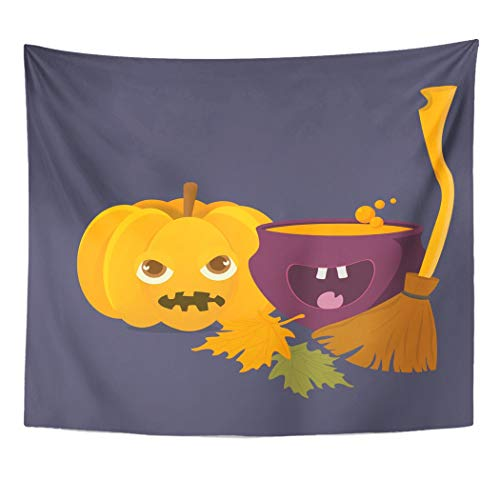 Emvency Wall Tapestry Cartoon Witch Cauldron with Magic Boiling Soup Potion and Halloween Pumpkin Squash Jack O'Lantern with Broom Besom Space Decor Wall Hanging Picnic Bedsheet Blanket 60x50 Inches]()