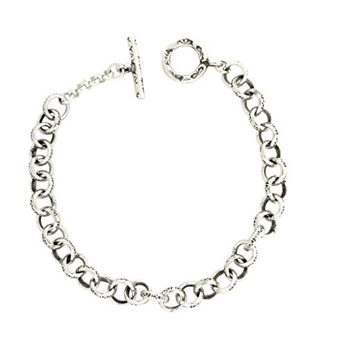 (Sterling Silver 8 1/2 Inch 8mm Rolo Textured Handmade Chain Bracelet with Toggle Clasp)