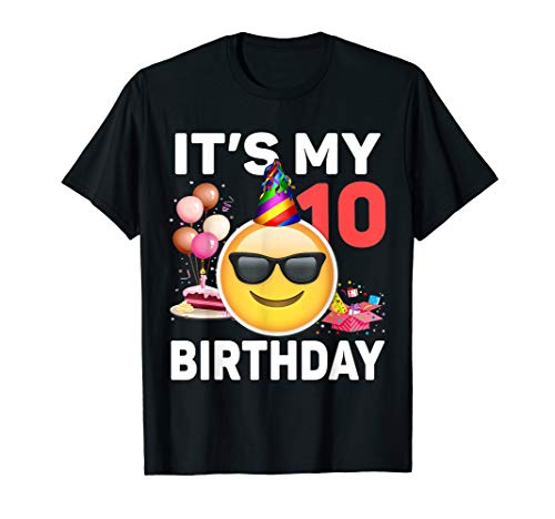 Kids Emoji It's My 10th Birthday T-Shirt Fun 10 Years Old Gi]()