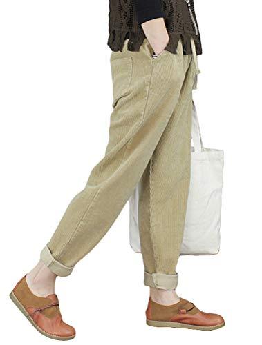 Minibee Women's Casual Corduroy Pants Comfy Pull on Elastic Waist Trousers Drawstring Cotton Pants Khaki S