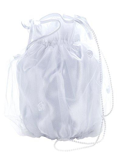 Princess Taufkleid Brauttasche aus Satin Weiß/Weiße-Perlen 78UCY