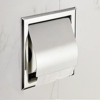 recessed paper holder for bathroom storage stainless steel polished chrome - Toilet Tissue Holder