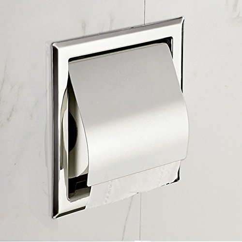 Recessed Paper Holder for Bathroom Storage, Stainless Steel, Polished Chrome