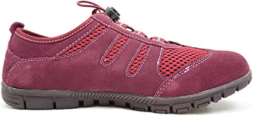 Ladies/Womens Real Leather Suede Trainer Style Outdoor/Walking Shoes Burgundy 2qeHyWrsN