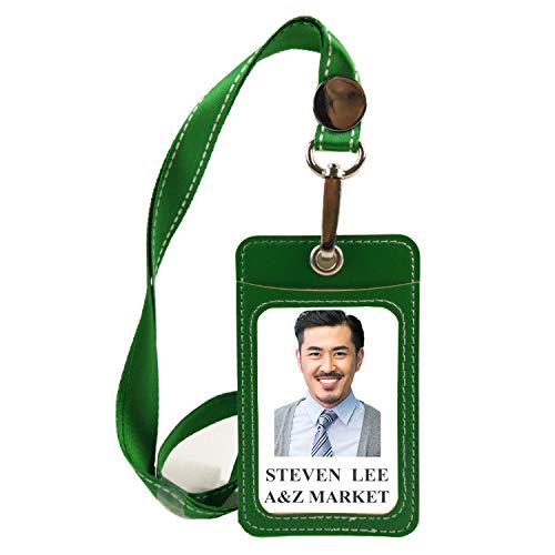- Lucstar ID Card Badge Holder Retractable with Lanyard Clear Window Quality PU Leather, 2 Slots Back and Front Perfect for Work Permits, Metro,Bus Card, Credit Card Holder (Olive)