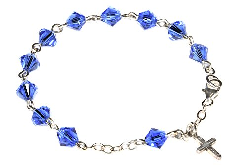Child Rosary Bracelet made w/Sapphire Blue Swarovski Crystal-September (Communion & more)