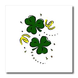 ht_175534_3 Susans Zoo Crew St Patricks Day - two clovers with streamers st paddys - Iron on Heat Transfers - 10x10 Iron on Heat Transfer for White Material