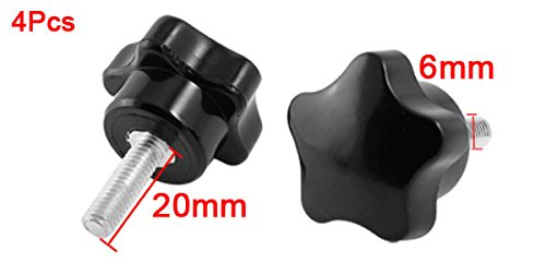 uxcell a13110500ux0008 4pcs 30 mm Star Head Diameter M6 x 20 mm Male Thread Screw On Clamping Knob Pack of 4